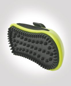 Rubber brush that gently removes dry skin caused by dog mange