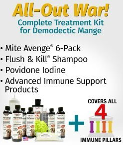 Demodectic mange kit with shampoo and immune support products