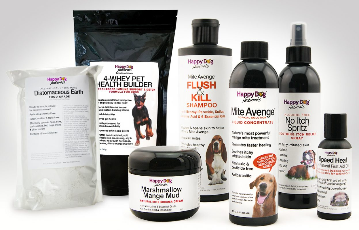 Mite Avenge and Happy Dog Naturals products can cure mange.